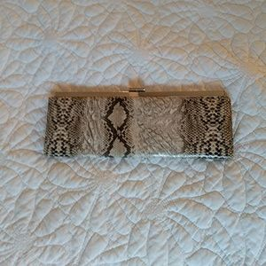 Snakeprint Skinny Clutch with Silvertone Clasp